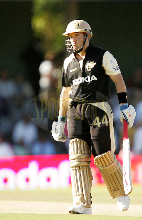 EAST LONDON, SOUTH AFRICA - 1 May 2009. Morne Van Wyk during the  IPL Season 2 match between the Mumbai Indians and the Kolkata Knight Riders held at Buffalo Park in East London. South Africa..