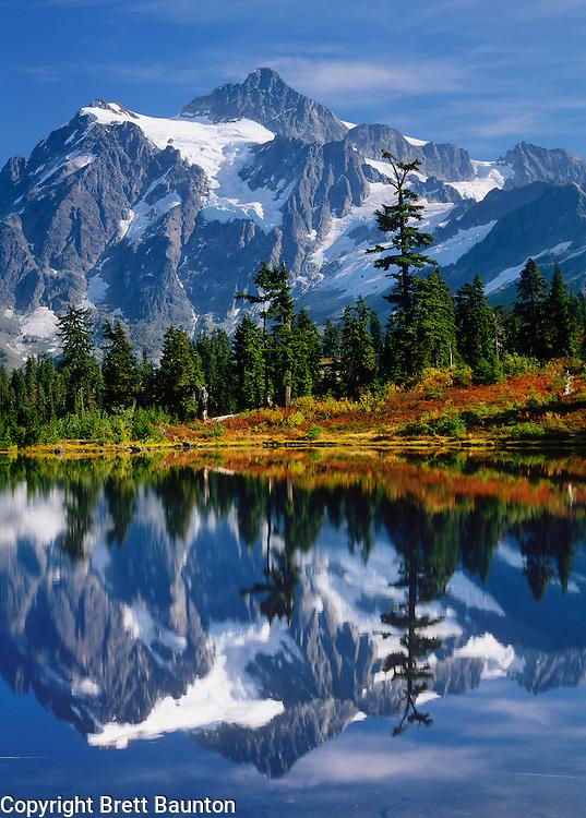 Mt. Shuksan, Reflection in Lake, Fall, Mt. Baker Scenic Byway, Washington