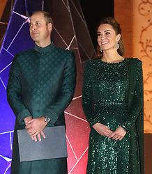 The Duke and Duchess of Cambridge attend a reception hosted by the British High Commissioner to Pakistan Thomas Drew CMG at the National Monument in Islamabad during the second day of the royal visit to Pakistan.