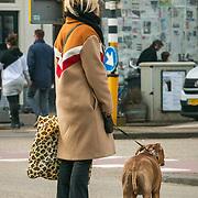 NLD/Amsterdam//20190211-Bridget Maasland met haar hond wachtend bij de stoplichten