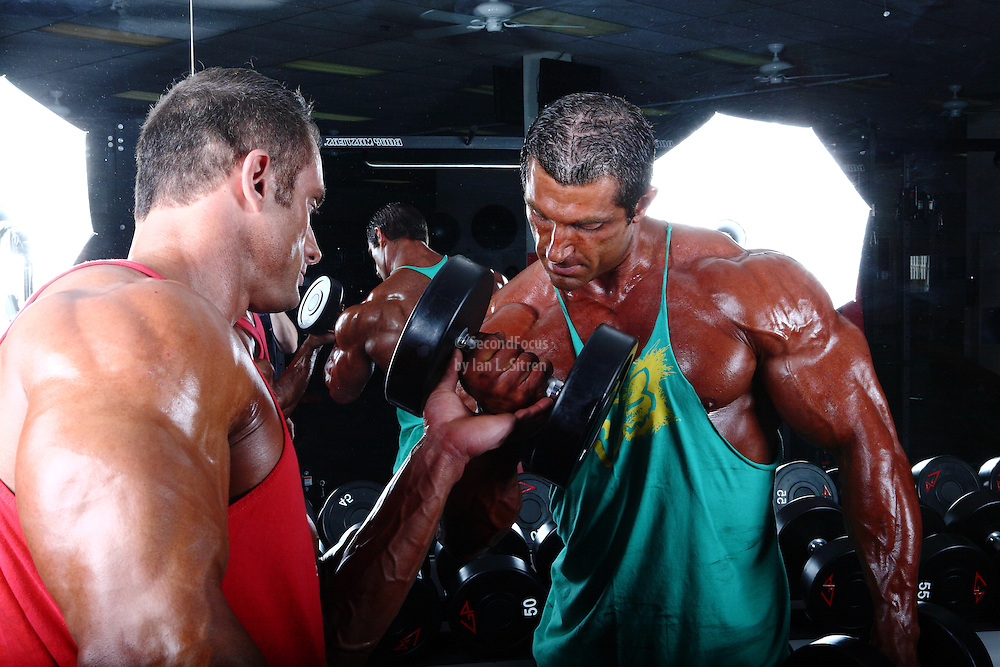 Bodybuilders Dan Decker and Brian Yersky working out biceps with dumbbells.