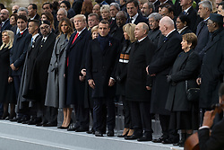Morocco's King Mohammed VI and his son, first lady Melania Trump, U.S. President Donald Trump, German Chancellor Angela Merkel, Emmanuel Macron and Brigitte Macron, Russian President Vladimir Putin.<br /> French President Emmanuel Macron and Brigitte Macron, German Chancellor Angela Merkel, U.S. President Donald Trump, first lady Melania Trump, Morocco's King Mohammed VI, Russian President Vladimir Putin, Australian Governor-General Peter Cosgrove attend a commemoration ceremony for Armistice Day, 100 years after the end of the First World War at the Arc de Triomphe.<br /> Paris,FRANCE-11/11/2018 Photo by Jacques Witt/pool/ABACAPRESS.COM