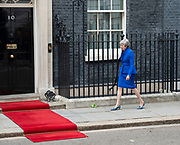 Donald Trump, US President and First Lady Melania Trump arrive in Downing Street as part of their State visit. Theresa May, Prime Minister and Mr May greet them on the doorstep of No.10 Downing Street, London, Great Britain <br /> 4th June 2019 <br /> <br /> <br /> <br /> Theresa May <br /> <br /> <br /> Photograph by Elliott Franks