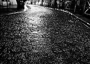 Paris cobblestone streets at night, Paris, France
