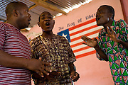 Members of the Harmony Community Centre perform an a capella song at the Buduburam refugee settlement, roughly 20 km west of Ghana's capital Accra on Friday April 13, 2007. The Buduburam refugee settlement is still home over 30,000 Liberians, most of which have mixed feelings about returning to Liberia. The Harmony Community Centre is aimed at helping people with mental and physical disabilities integrate with the community through art, music and theater performances.
