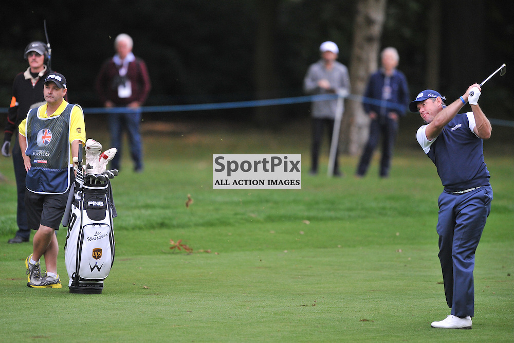 Lee Westwood, England hits home on to the green of the 18th,   British Masters, European Tour, Woburn Golf Club, 8th October 2015British Masters, European Tour, Woburn Golf Club, 8th October 2015