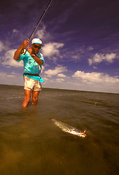 Stock photo of fly fishing for Texas speckled trout in Lower Laguna Madre