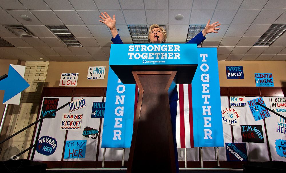 Hillary Clinton hammers her message home during a rally at the UA Local 525 Plumbers and Pipefitters Union building on Wednesday, Nov. 2, 2016.  L.E. Baskow