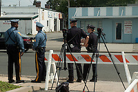 "NJ State Troopres join Edison Police Officers to protect the area surrounding the Presidential ""Palace""."