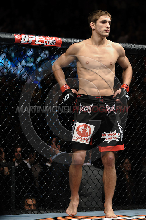 """LONDON, ENGLAND, OCTOBER 2010: John Hathaway stands in his corner during """"UFC 120: Bisping vs. Akiyama"""" inside the O2 Arena in Greenwich, London"""