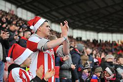Stoke City fan with christmas hat - Photo mandatory by-line: Dougie Allward/JMP - Mobile: 07966 386802 - 06/12/2014 - SPORT - Football - Stoke - Britannia Stadium - Stoke City v Arsenal - Barclays Premie League