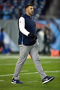 Tennessee Titans head coach Mike Vrabel walks across the field before the week 14 regular season NFL football game against the Jacksonville Jaguars on Thursday, Dec. 6, 2018 in Nashville, Tenn. The Titans won the game 30-9. (©Paul Anthony Spinelli)