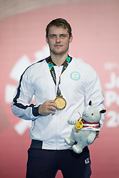 JAKARTA, Aug. 19, 2018  Gold medalist Alexanin Dmitriy of Kazakhstan poses for photos during the awarding ceremony of Men's Epee Individual Gold Medal Bout of the 18th Asian Games in Jakarta, Indonesia, Aug. 19, 2018. (Credit Image: © Zhu Wei/Xinhua via ZUMA Wire)