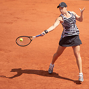 PARIS, FRANCE June 06. Ashleigh Barty of Australia in action against Madison Keys of the United States on Court Suzanne Lenglen during the Women's Singles Quarter Final match at the 2019 French Open Tennis Tournament at Roland Garros on June 6th 2019 in Paris, France. (Photo by Tim Clayton/Corbis via Getty Images)