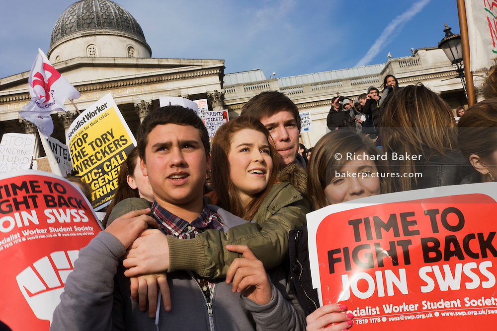 Students protest against government education cuts in Trafalgar Square