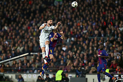 March 14, 2018 - Barcelona, Spain - OLIVIER GIROUD of Chelsea FC wins a header under pressure from SERGIO BUSQUETS of FC Barcelona during the UEFA Champions League, round of 16, 2nd leg football match between FC Barcelona and Chelsea FC on March 14, 2018 at Camp Nou stadium in Barcelona, Spain (Credit Image: © Manuel Blondeau via ZUMA Wire)