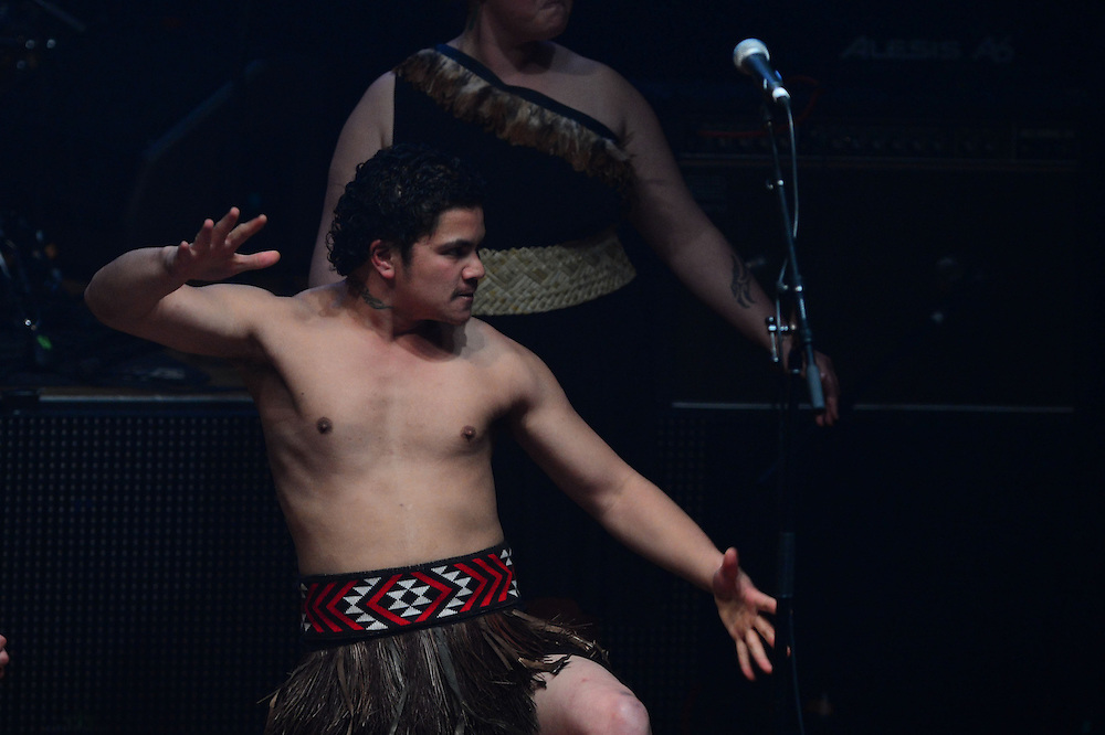 Kapa Haka group welcome visitors with Waiata at the APRA Silver Scrolls Awards 2012. Auckland Town Hall. 13 September 2012.