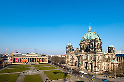 View of Berlin Cathedral, Berliner Dom, and Altes Museum on Lustgarten on Museum Island (Museumsinsel) in Mitte, Berlin, Germany