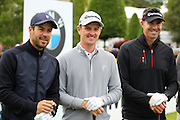Jamie Redknapp, Justin Rose and Kevin Pietersen at the BMW PGA Championship Celebrity Pro-Am Challenge at the Wentworth Club, Virginia Water, United Kingdom on 20 May 2015