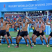 The New Zealand All Black 7's performed their traditional Haka after winning the World Cup Rugby 7's USA by defeating England 33-17 at AT&T Park, San Francisco, California, USA. Photo by Barry Markowitz, 7/22/18, 6pm