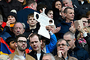 A tinfoil and cardboard FA Cup held aloft by a fan during the The FA Cup 5th round match between Bristol City and Wolverhampton Wanderers at Ashton Gate, Bristol, England on 17 February 2019.