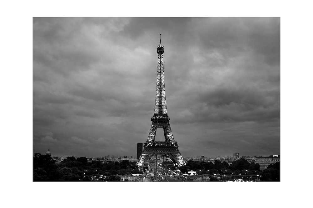 Stormy weather over the Eiffel Tower in Paris, France.<br />