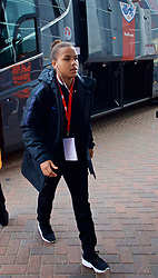 SOUTHAMPTON, ENGLAND - Friday, April 6, 2018: England's Nikita Parris arrives before the FIFA Women's World Cup 2019 Qualifying Round Group 1 match between England and Wales at St. Mary's Stadium. (Pic by David Rawcliffe/Propaganda)