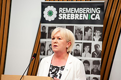 MSP Johann Lamont spoke at an event remembering the massacre at Srebrenica during the Yugoslav war. <br /> <br /> © Dave Johnston/ EEm