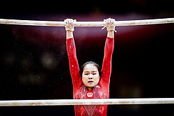 October 28, 2018 - Doha, Quatar - Huan Luo of  China   during  Uneven Bars qualification at the Aspire Dome in Doha, Qatar, Artistic FIG Gymnastics World Championships on 28 of October 2018. (Credit Image: © Ulrik Pedersen/NurPhoto via ZUMA Press)