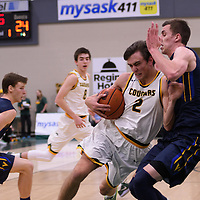 2nd year guard Samuel Hillis (2) of the Regina Cougars in action during the home opener  on November  4 at Centre for Kinesiology, Health and Sport. Credit: /Arthur Images