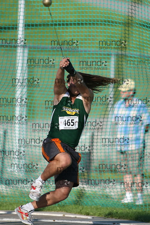 (Sherbrooke, Quebec---10 August 2008) Scott Rumble competing in the hammer throw at the 2008 Canadian National Youth and Royal Canadian Legion Track and Field Championships in Sherbrooke, Quebec. The photograph is copyright Sean Burges/Mundo Sport Images, 2008. More information can be found at www.msievents.com.