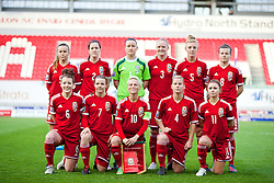 LLANELLI, WALES - Wednesday, April 9, 2014: Wales' players line up for a team group photograph before the FIFA Women's World Cup Canada 2015 Qualifying Group 6 match against Ukraine at Parc-y-Scarlets. Back row L-R: Natasha Harding, Nicola Cousins, goalkeeper Nicola Davies, Helen Bleazard, Sophie Ingle, Hayley Ladd. Front row L-R: Angharad James, Loren Dykes, captain Jessica Fishlock, Kylie Davies, Sarah Wiltshire. (Pic by David Rawcliffe/Propaganda)