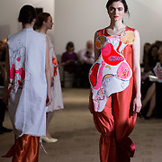 13.05.2016.           <br /> A model showcases designs by Kim Fultony titled 'Planterwald' at the much anticipated Limerick School of Art & Design, LIT, (LSAD) Graduate Fashion Show on Thursday 12th May 2016. The show took place at the LSAD Gallery where 27 graduates from the largest fashion degree programme in Ireland showcased their creations. Ranked among the world's top 50 fashion colleges, Limerick School of Art and Design is continuing to mold future Irish designers.. Picture: Alan Place/Fusionshooters