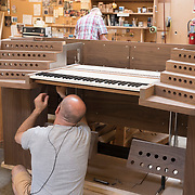 Tony Miscio at C. B. Fisk, Inc., Gloucester, MA, assembling a keyboard for a pipe organ