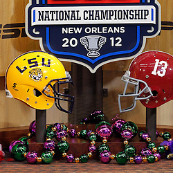 Jan 9, 2012; New Orleans, LA, USA; A general view of a LSU Tigers and Alabama Crimson Tide helmet on the set of ESPN before the 2012 BCS National Championship game at the Mercedes-Benz Superdome.  Mandatory Credit: Derick E. Hingle-US PRESSWIRE