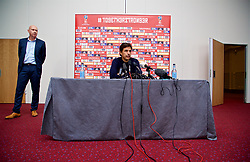 CARDIFF, WALES - Thursday, March 16, 2017: Wales' manager Chris Coleman, and head of pubic affairs Ian Gwyn Hughes, during a press conference at the Vale Resort to announce his squad for the forthcoming 2018 FIFA World Cup Qualifying Group D match against Republic of Ireland. (Pic by David Rawcliffe/Propaganda)