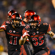20 October 2018:  San Diego State Aztecs special teams Marc Ellis (35) celebrates after making an open field tackle on a kick off return in the second quarter. The Aztecs beat the Spartans 16-13 Saturday night at SDCCU Stadium.