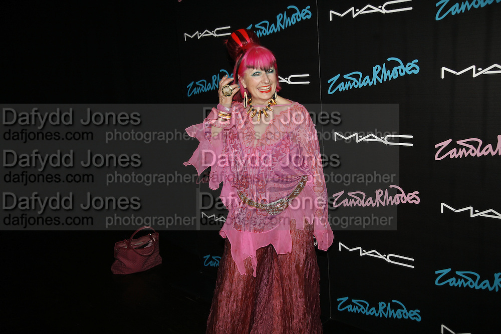 Zandra Rhodes, Mac  hosts party for Zandra Rhodes to celebrate her return to the runway and the launch of her collection of M.A.C. cosmetics. Silver. Hanover Sq. 20 September 2006. ONE TIME USE ONLY - DO NOT ARCHIVE  © Copyright Photograph by Dafydd Jones 66 Stockwell Park Rd. London SW9 0DA Tel 020 7733 0108 www.dafjones.com