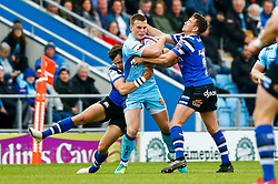 Joe Simmonds of Exeter Chiefs is tackled by Lucas Noguera of Bath Rugby - Mandatory by-line: Ryan Hiscott/JMP - 03/11/2018 - RUGBY - Sandy Park Stadium - Exeter, England - Exeter Chiefs v Bath Rugby - Premiership Rugby Cup