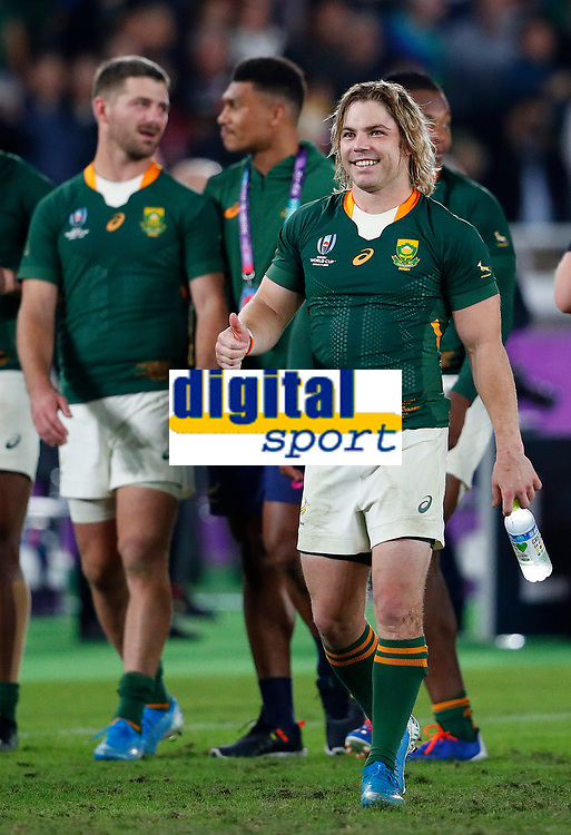 Rugby Union - 2019 Rugby World Cup - Semi-Final: Wales vs. South Africa<br /> <br /> Faf de Klerk of South Africa celebrates at International Stadium Yokohama, Kanagawa Prefecture, Yokohama City.<br /> <br /> COLORSPORT/LYNNE CAMERON