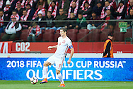 Warsaw, Poland - 2016 October 11: Robert Lewandowski from Poland controls the ball  during soccer match Poland v Armenia - FIFA 2018 World Cup Qualifier at PGE National Stadium on October 11, 2016 in Warsaw, Poland.<br /> <br /> Adam Nurkiewicz declares that he has no rights to the image of people at the photographs of his authorship.<br /> <br /> Picture also available in RAW (NEF) or TIFF format on special request.<br /> <br /> Any editorial, commercial or promotional use requires written permission from the author of image.<br /> <br /> Mandatory credit:<br /> Photo by © Adam Nurkiewicz / Mediasport