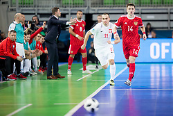 Artur Poplawski of Poland and Danill Davydov of Russia during futsal match between Russia and Poland at Day 1 of UEFA Futsal EURO 2018, on January 30, 2018 in Arena Stozice, Ljubljana, Slovenia. Photo by Ziga Zupan / Sportida
