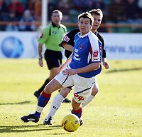 Photo: Chris Ratcliffe.<br />Barnet FC v Carlisle United. Coca Cola League 2. 25/02/2006.<br />Andy Hessenthaler of Barnet (R) chases Michael Bridges of Carlisle.