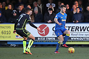 AFC Wimbledon defender Jon Meades (3) dribbling during the EFL Sky Bet League 1 match between AFC Wimbledon and Bristol Rovers at the Cherry Red Records Stadium, Kingston, England on 17 February 2018. Picture by Matthew Redman.