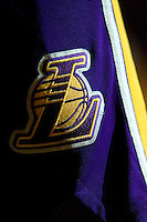 23 February 2007: The Los Angeles Lakers logo on the side of basketball pants during player introductions before playing the Boston Celtics before the Lakers 122-96 victory over the Celtics at the STAPLES Center in Los Angeles, CA.