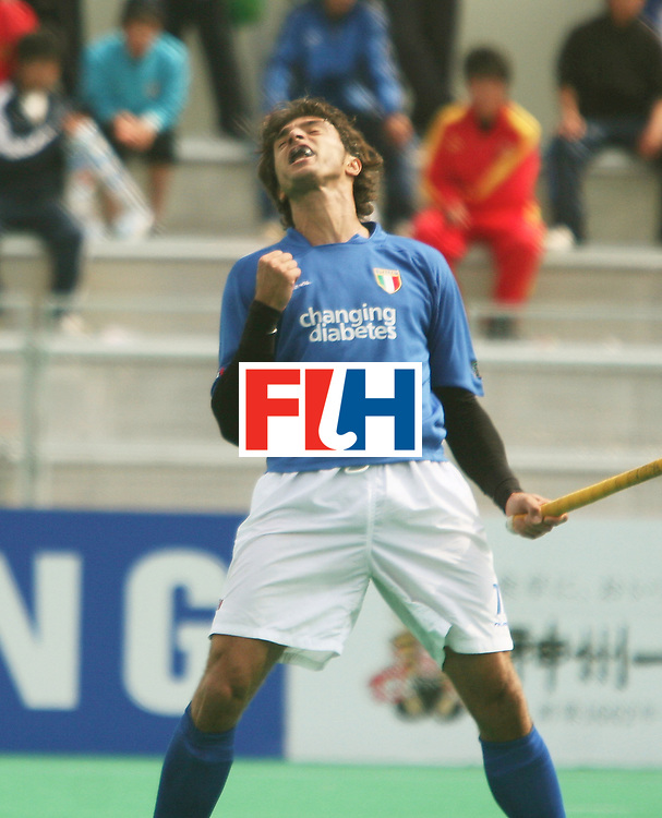 Kakamigahara (Japan): Massimo Laznzano of Italy who scored two goals against Switzerland on the final day of the Olympic Hockey Qualifier at Gifu Perfectural Green Stadium at Kakamigahara on 13 April 2008. <br /> Italy beat Switzerland 3-2.  <br /> Photo: GNN/ Vino John