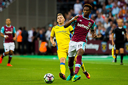 Reece Oxford of West Ham and Matic Crnic of NK Domzale during 2nd Leg football match between West Ham United FC and NK Domzale in 3rd Qualifying Round of UEFA Europa league 2016/17 Qualifications, on August 4, 2016 in London, England.  Photo by Ziga Zupan / Sportida