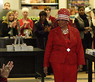 Trotwood Mayor Joyce Cameron on the runway during the CROWNS Hat Show at Books & Company in The Greene in Beavercreek, Saturday, February 26, 2011.