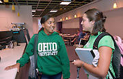 Alissa Griffith(dark ohio) Hilary Diaz(light Ohio)..In new student Cafe in LibraryAlissa Griffith(dark ohio) Hilary Diaz(light Ohio)..In new student Cafe in Library