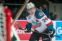 KELOWNA, CANADA - JANUARY 23: Tyson Baillie #24 of Kelowna Rockets lines up for the face off against the Everett Silvertips on January 23, 2015 at Prospera Place in Kelowna, British Columbia, Canada.  (Photo by Marissa Baecker/Shoot the Breeze)  *** Local Caption *** Tyson Baillie;